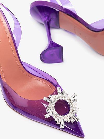 Purple Begum 95 Crystal Slingback Pumps