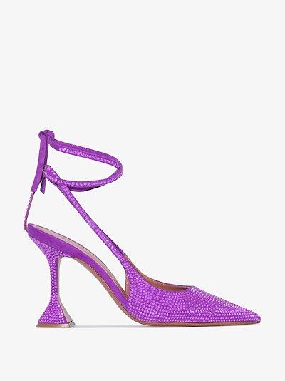 purple Karma 95 slingback crystal suede pumps