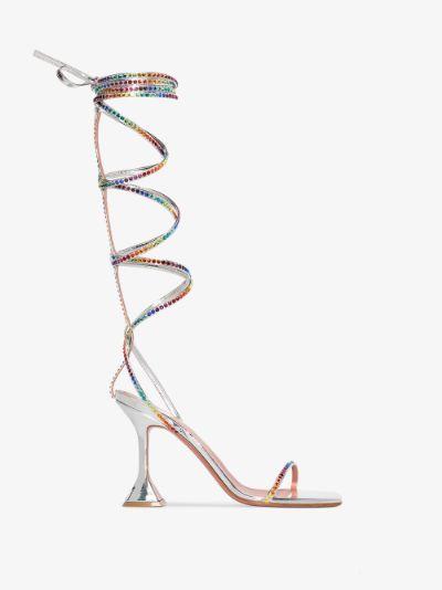 X AWGE silver LSD 95 gladiator wrap sandals