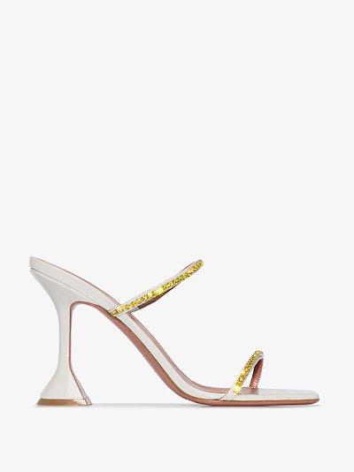 X Browns 50 Grey Gilda 95 crystal leather sandals