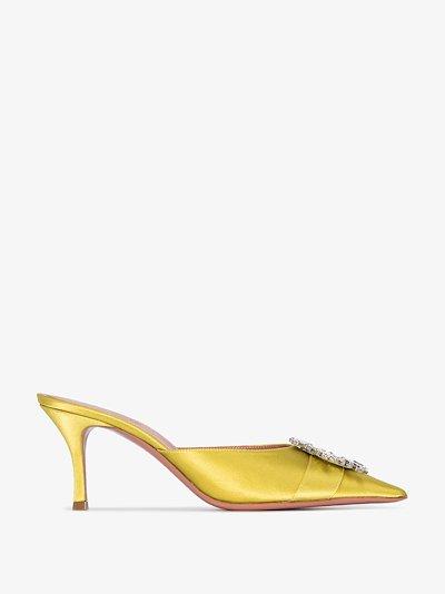 yellow Begum 70 crystal satin mules