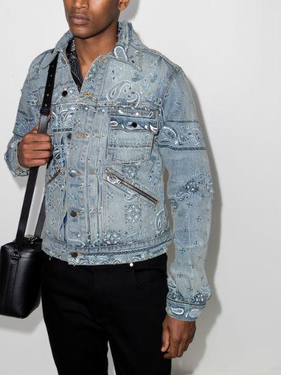 bandana print denim jacket
