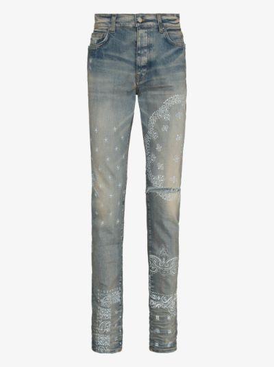 bandana print skinny jeans