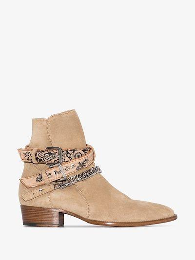 beige bandana buckled suede boots