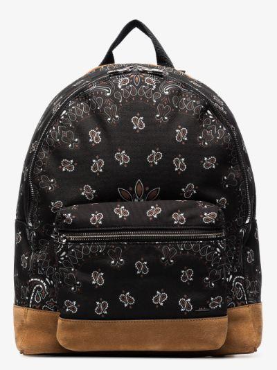 black Bandana print canvas backpack