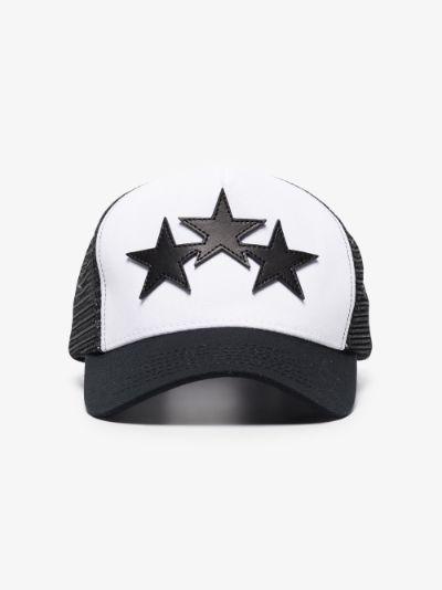 Black three star trucker cap
