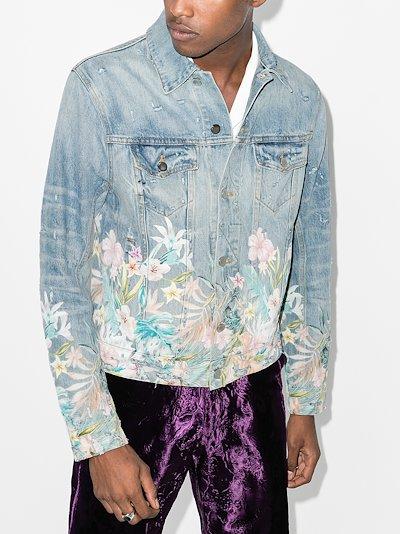 distressed floral denim jacket