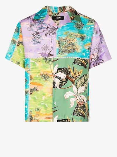 hawaiian patchwork silk shirt