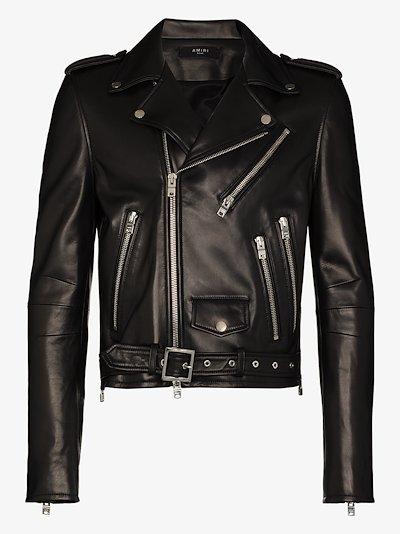 Lightweight leather biker jacket