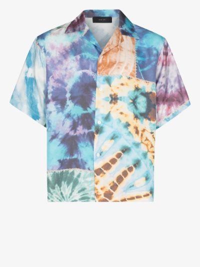 patchwork tie-dye silk shirt