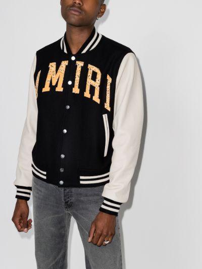 vintage appliqué varsity bomber jacket