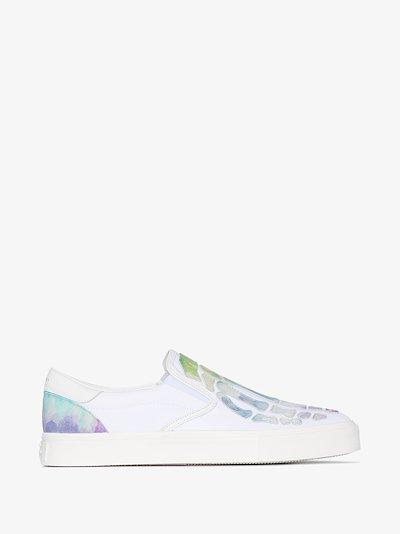 white skeleton slip-on sneakers