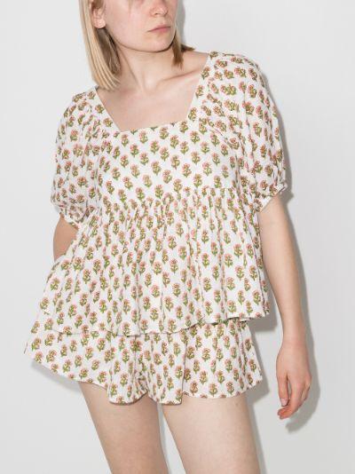 Brigitte floral print puff sleeve top