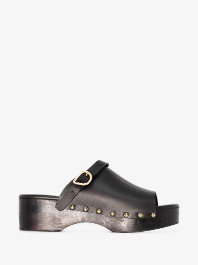 Black Classic Clog Leather Mules