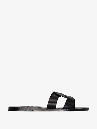 black Desmos crossover leather sandals