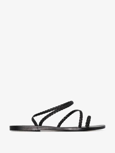 black Eleftheria braided leather sandals