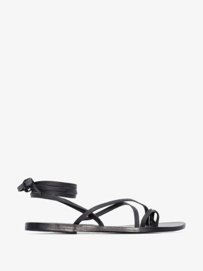 black morfi leather sandals