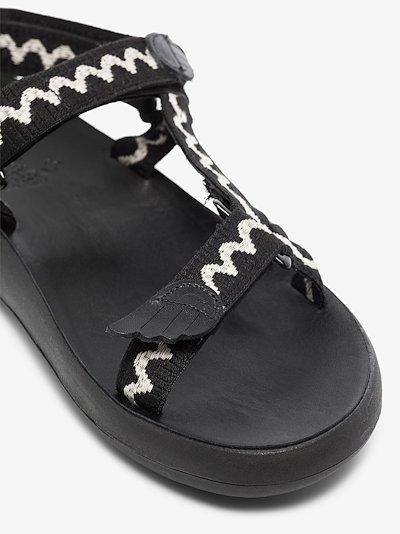 Black Poria Leather Trekking Sandals