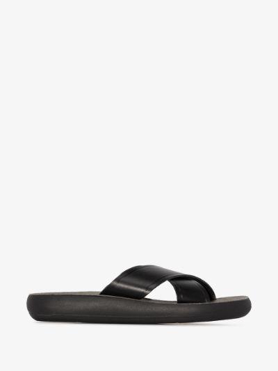 Black Thais Comfort Leather Sandals