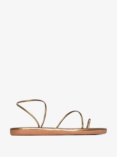 bronze Kansiz leather toe ring sandals