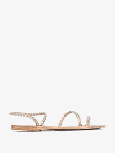 gold Eleftheria plaited leather sandals
