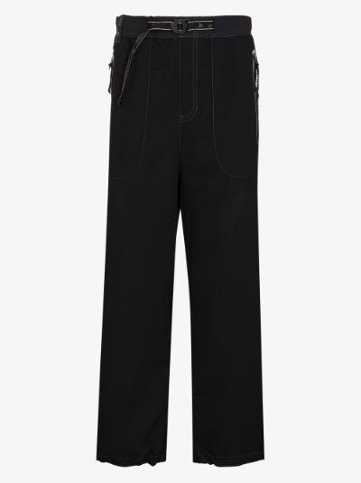 Black Vent Straight Leg Trousers