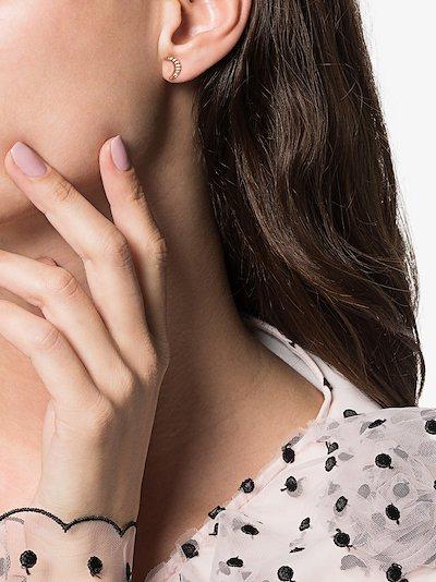 14K rose gold Moon diamond earring