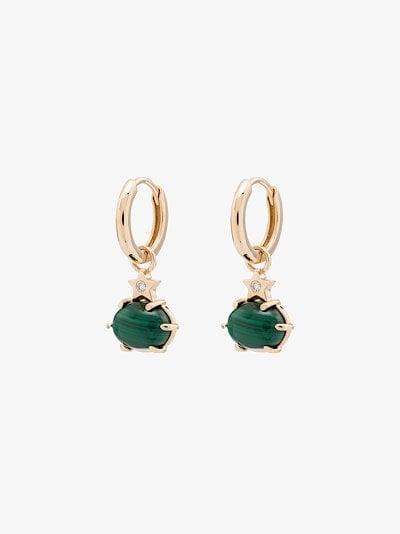 14K yellow gold malachite drop star diamond earrings