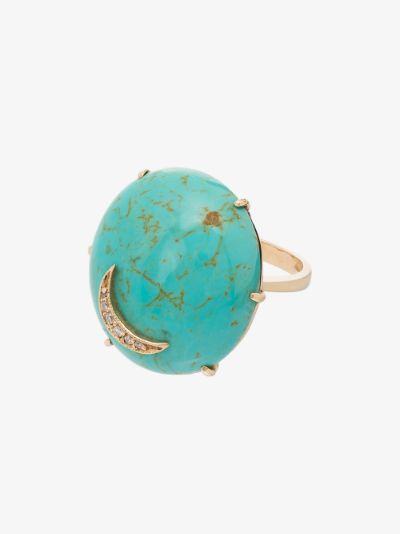 14K yellow gold Nebula turquoise diamond ring