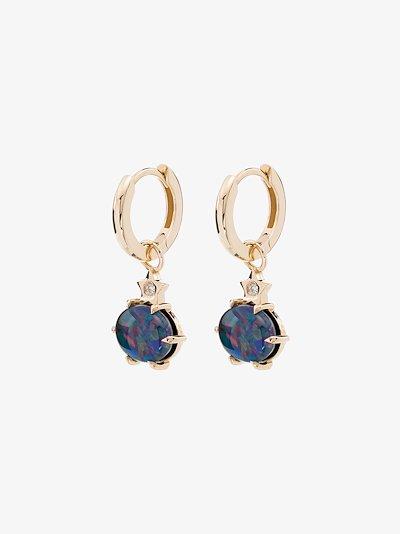 14K yellow gold opal diamond drop earrings
