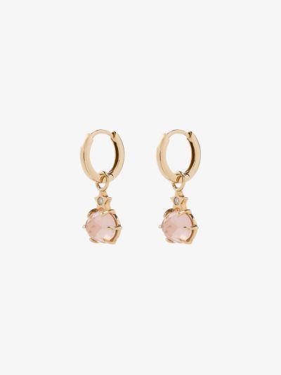 14K yellow gold quartz star diamond earrings
