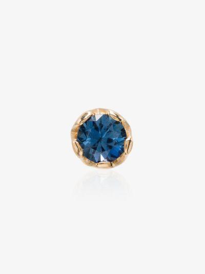 14K yellow gold sapphire stud earring