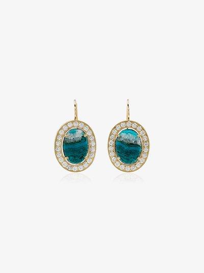 18K Gold Opal and diamond hook earrings