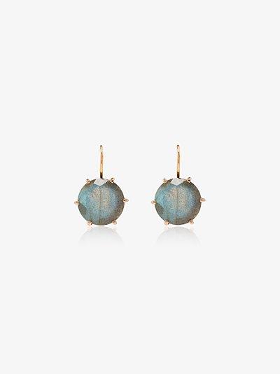 18K rose gold labradorite earrings