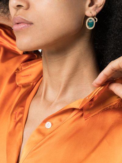 18K Yellow Gold Crescent Moon diamond hoop earring