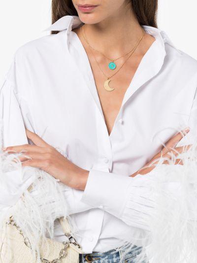18K yellow gold Crescent Moon diamond pendant necklace
