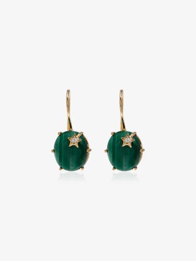 18K yellow gold Mini Galaxy malachite diamond earrings