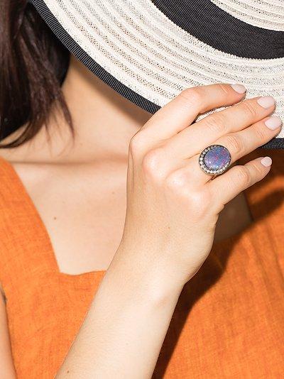 18K yellow gold opal diamond ring