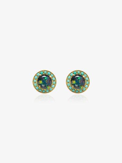 18K yellow gold opal turquoise frame stud earrings