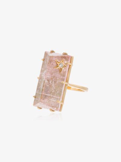 18K yellow gold quartz diamond ring