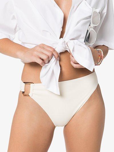asymmetric tortoiseshell buckle bikini bottoms