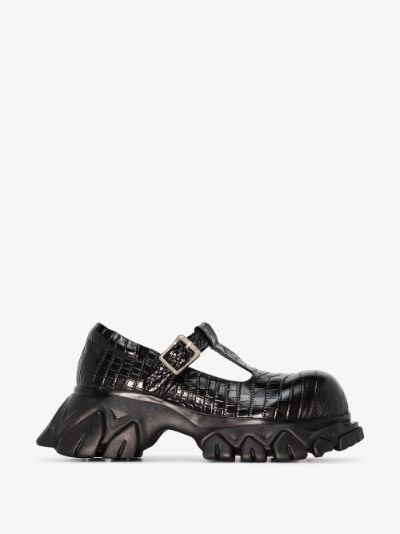black Dragon Teeth leather T-Bar pumps