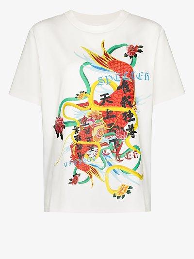 dragon print cotton T-shirt