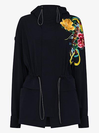 Embroidered Floral Parka Coat