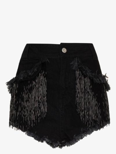 Fringed Trim Denim Shorts