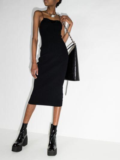 layered knit midi dress
