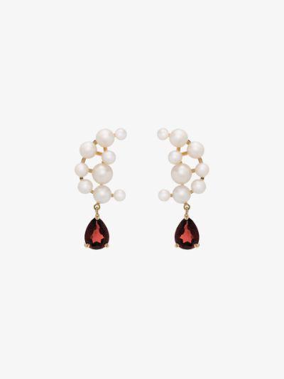 14K yellow gold Blood Sisters pearl garnet drop earrings