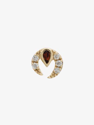 9K yellow gold claw ruby diamond earring