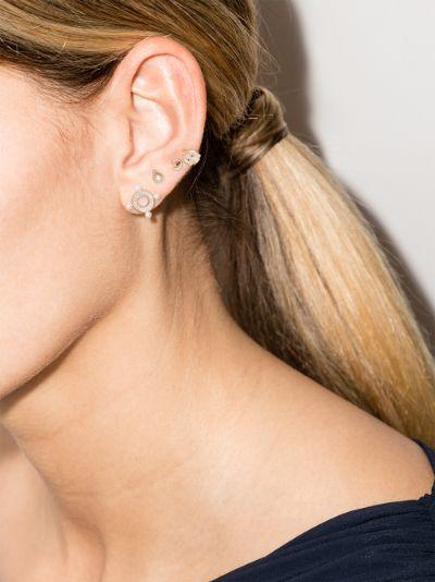 9K yellow gold Quatuor diamond earring