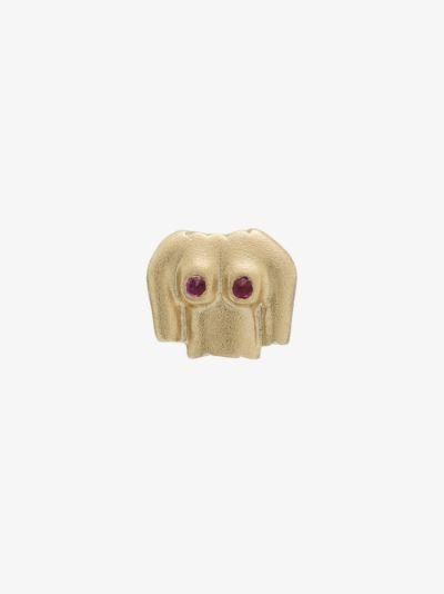 9K yellow gold Rubies Boobies ruby earring